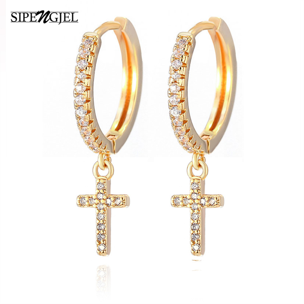 New Fashion Cute Cross Earrings Top Quality Cz Crystal cross hoop Earrings For Women Korean Wedding Jewellery