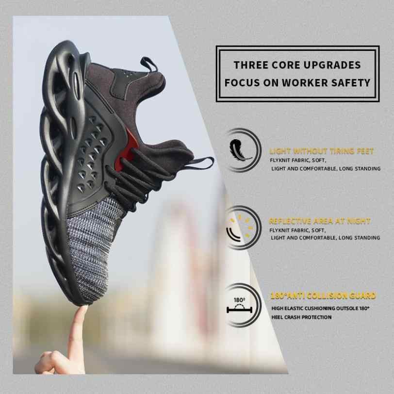 Erkek açık nefes örgü çelik ayak Anti Smashing güvenlik ayakkabıları erkekler açık delinme geçirmez rahat iş ayakkabısı güvenlik botu