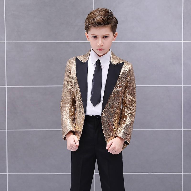 Handsome One Button Sequin Kid Complete Designer Boy Wedding Suit Boys' Attire Custom-made (Jacket+Pants+Tie) 01 3