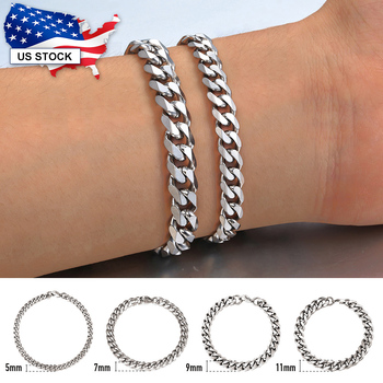 Fashion Womens Men's Stainless Steel Punk Silver Color Curb Link Chain Bracelet 3 5 7 9 11MM Bangle Bracelets Jewelry LKB214 3 11mm men s bracelets stainless steel curb cuban link chain silver color black gold bracelet men women jewelry gift 7 10 kbm03