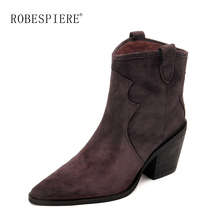 ROBESPIERE Brand Cowboy Mid Calf Boots Women Wedge High Heel Booties 2019 Hot Sale Winter Warm Plush Western Cowgirl B136