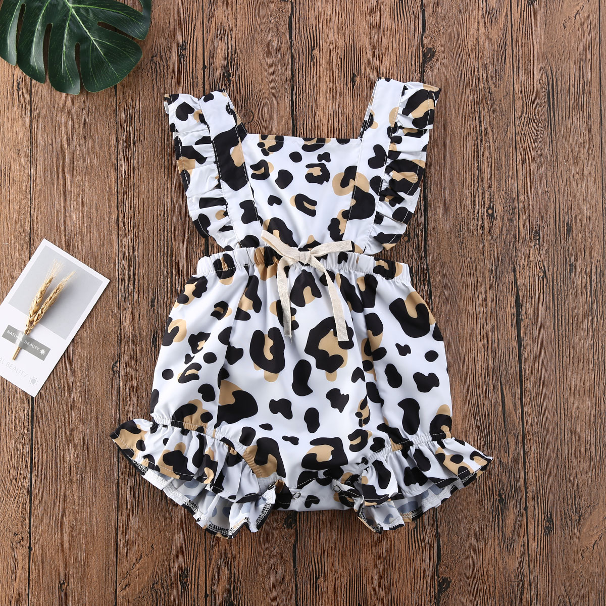 Pudcoco Newborn Baby Girl Clothes Leopard Print Sleeveless Ruffle Romper Jumpsuit One-Piece Outfit Cotton Sunsuit Clothes Summer