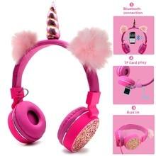 JINSERTA Unicorns Earphone Stereo Bluetooth Kids Headphones FM Radio With Mic Support Handsfree TF Card AUX