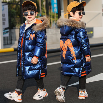 baby boy winter jackets 2018 kids hooded cotton outerwear parka coat clothes for teen boys 5 6 7 8 9 10 11 12 13 14 years old Fashion Winter Warm Cotton Shiny Child Long Coat Fur Collar Baby Boys Jackets Children Outerwear Kids Outfits 4-14 Years Old