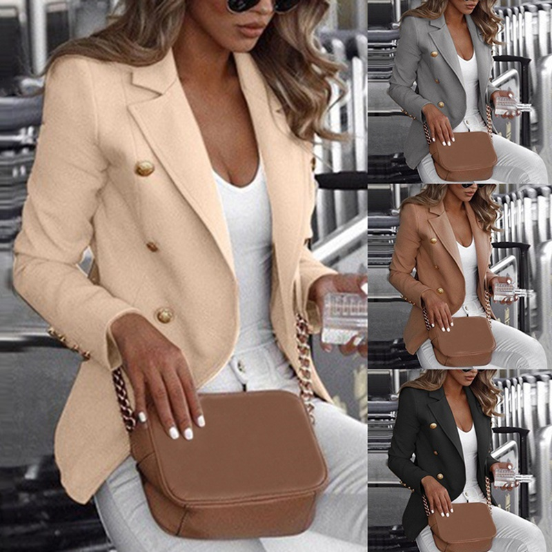 Laamei Fashion Slim Fit Double Breasted Women Long Sleeve Blazer Suit Button Work Office Lady Jacket Autumn Plus Size Coat S-5XL