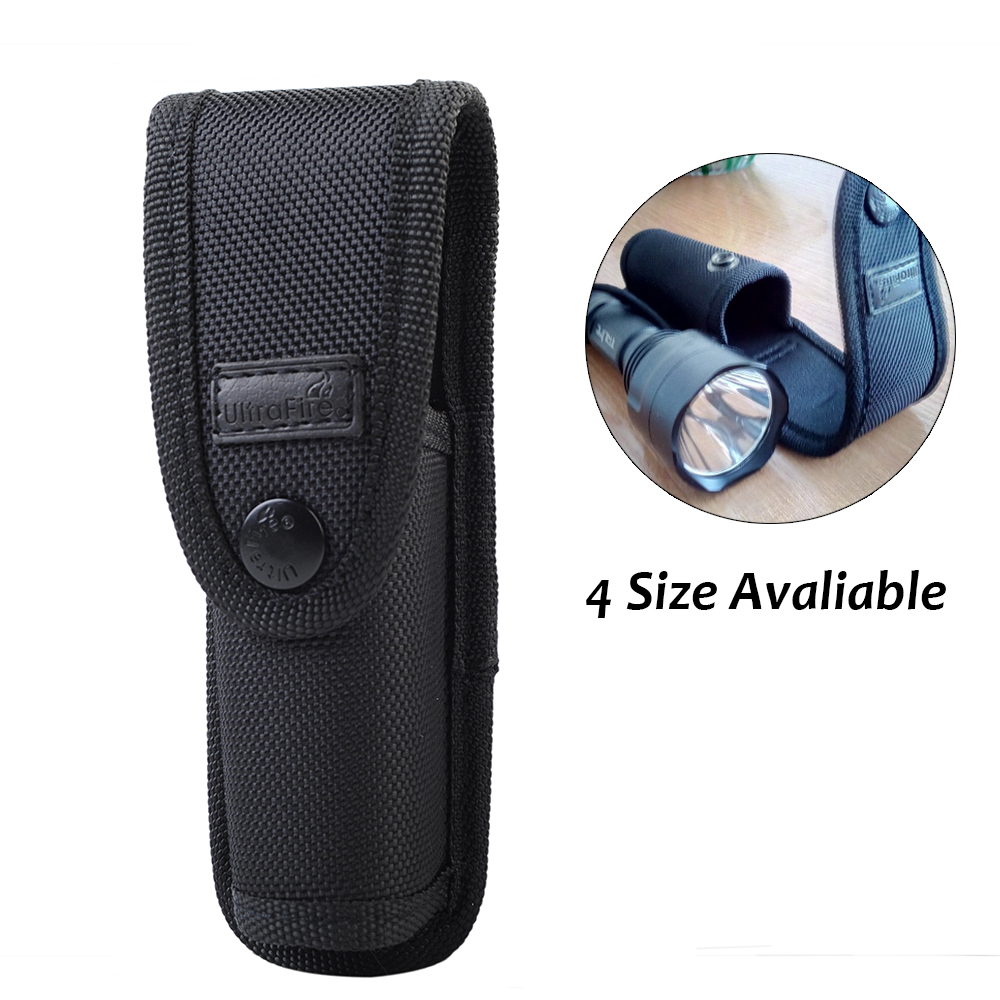 Tactical Molle Flashlight Pouch Nylon Torch Holster Carry Belt Camping Traveling With Clip Flashlight Cover Case For UF-800L