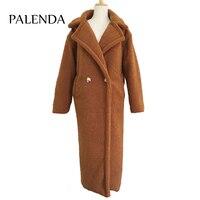 120cm extra longer length teddy curl X long maxi faux fur coat thick warm brown
