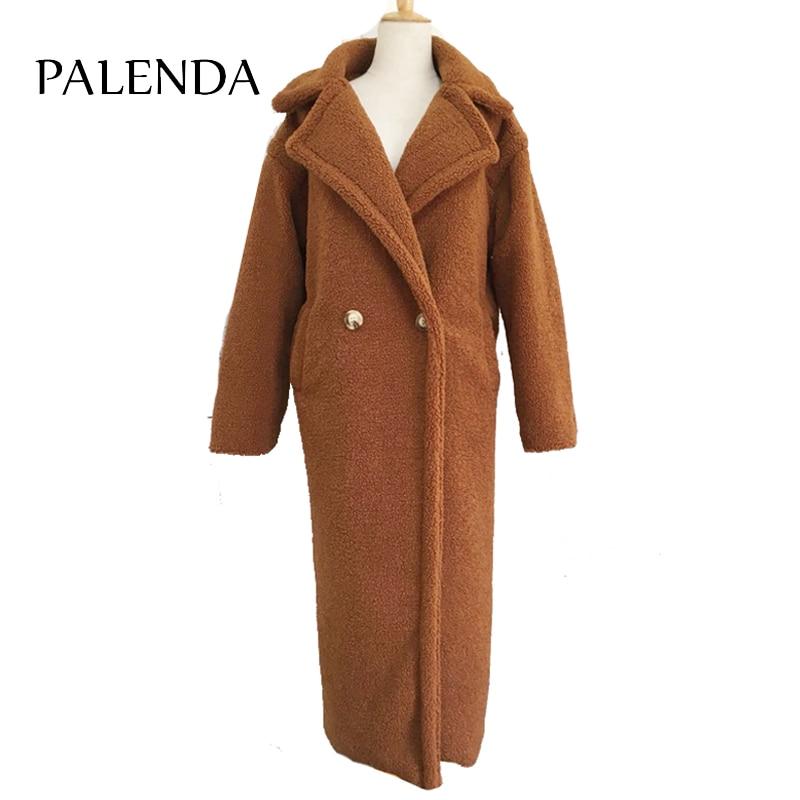 120cm extra longitud más larga de rizo X-maxi largo de piel de abrigo grueso cálido marrón
