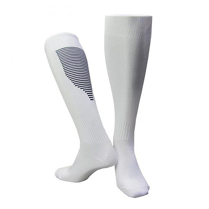 Men'S And Women'S Football Socks Thickened Breathable Sweat-Absorbent Over-The-Knee Football Training Stockings White+Black
