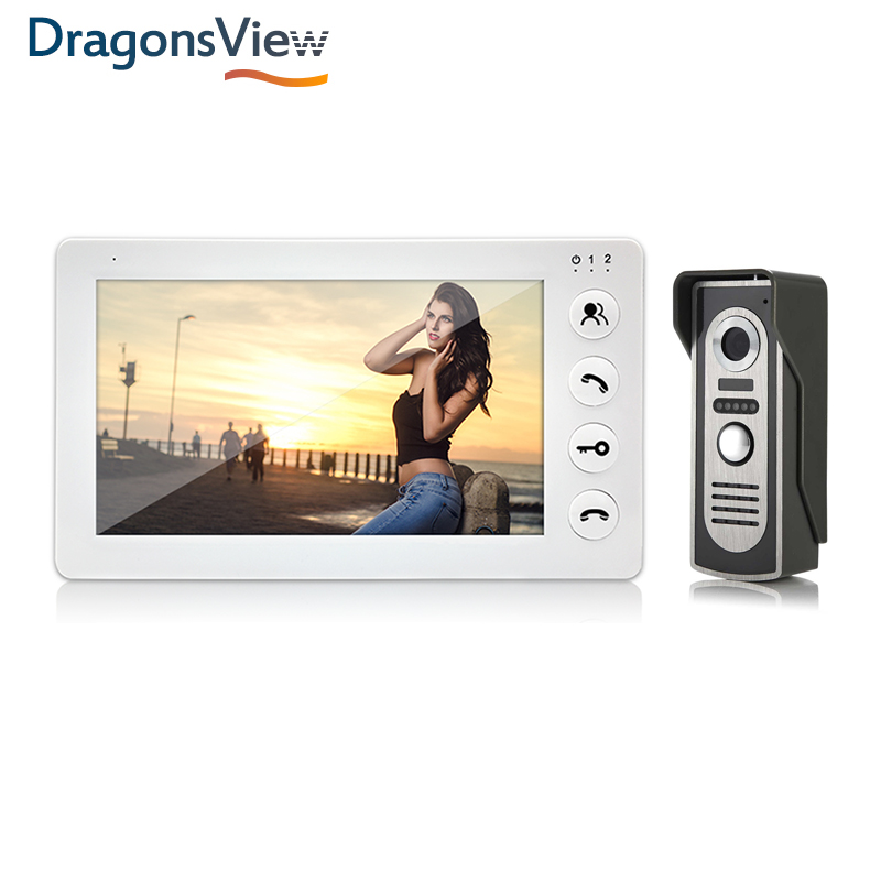 Dragonsview 7 Inch Indoor Monitor Wired Video Door Phone Video Intercom System With Recording Motion Detection Security System