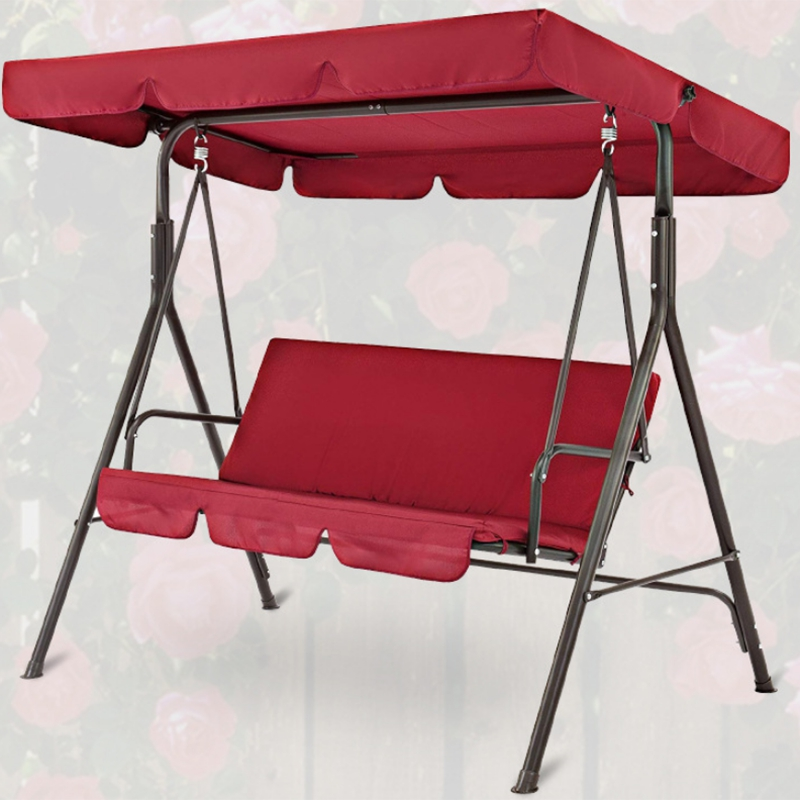 Terrace Swing 2 Pieces / Set Universal Garden Chair Dustproof 3-Seater Outdoor Cover Waterproof Swing Chair Top Covers (Red)