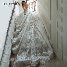 Vintage Kralen Applicaties Trouwjurk Lace Up A lijn Illusion Hof Trein Prinses Vestido De Noiva Bechoyer GY09 Bruid Gown