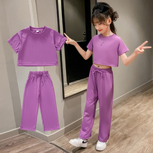 Clothes For Girls Solid Color Girls Clothing Summer Tshirt + Pants Girls Clothes Set Casual Style Children's Tracksuits