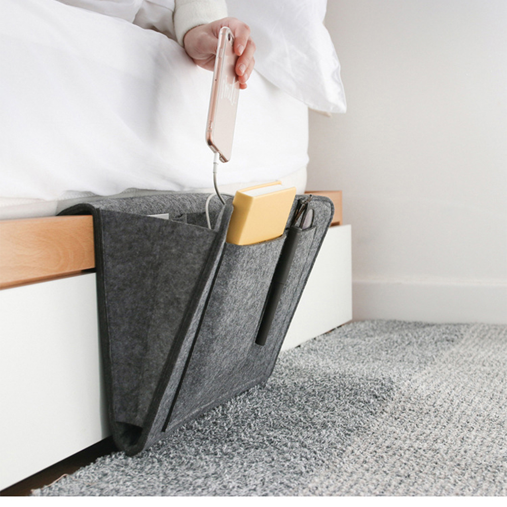 Felt Bedside Storage Organizer Bed Desk Bag <font><b>Sofa</b></font> TV <font><b>Remote</b></font> Control Hanging Caddy Couch Storage Organizer Bed Holder <font><b>Pockets</b></font> image