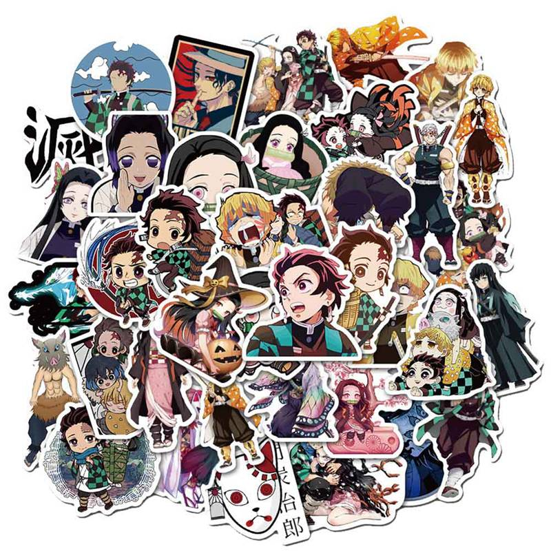 50pcs Demon Slayer: Kimetsu No Yaiba Anime Sticker Stickers PVC Graffiti Stickers Suitcase Luggage Guitar For Children Toys