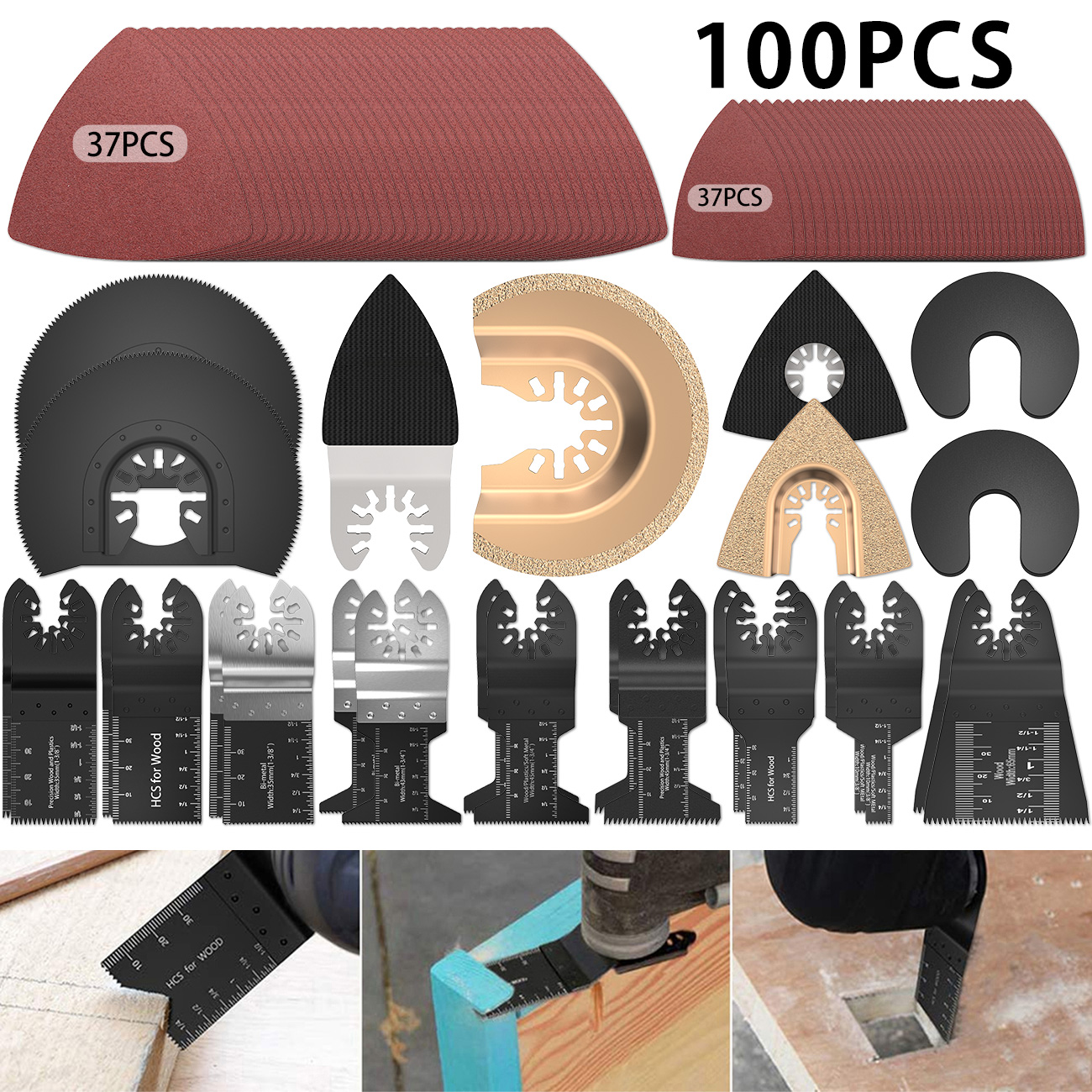 Multitool Blades Oscillating Tool Blades Accessory Quick Release Saw Blade Kit For Metal,Wood And Plastic Cutting,Sanding