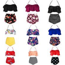 2019 New Bikinis Women Swimsuit High Waist Bathing Suit Plus Size Swimwear Push Up Bikini Set Vintage Beach Wear Biquini