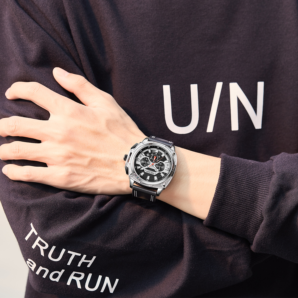 Image 5 - MEGIR 2020 новые мужские часы, мужские модные спортивные часы с кожаным ремешком, кварцевые деловые наручные часы, Reloj HombreСпортивные часы   -