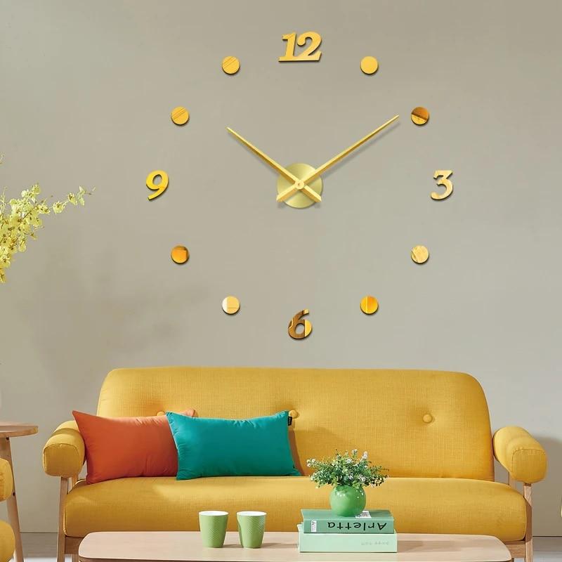 48 Inch Diy Acrylic Mirror Wall Clock Big Quartz Watch Still Life Modern Clocks Living Room Home Decoration 3d Stickers Wall Clocks Aliexpress