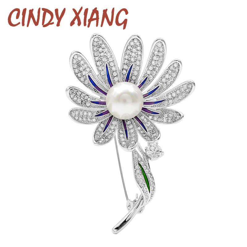 Cindy Xiang 9 Styes untuk Memilih Cubic Zirconia Burung Lebah Bros Bunga Kuningan Logam Enamel Mewah Bros untuk Wanita Tinggi kualitas