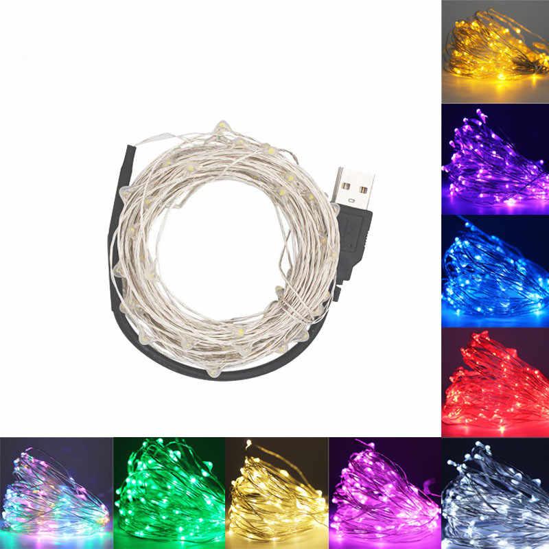 Светодиодный гирлянды 10 м 5 м 2 м 1 м серебряной проволоки Фея свет Рождество Свадебная вечеринка украшения приведенный в действие Батарея USB светодиодный ламп