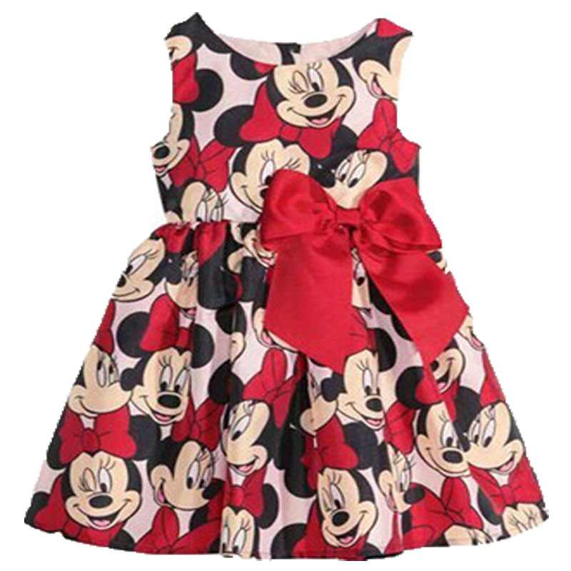 2-6Yrs Dots Cartoon Minnie Mickey Summer Princess Dress Cotton Girls Birthday Party Dress Kids Girls Clothes Kids Costume
