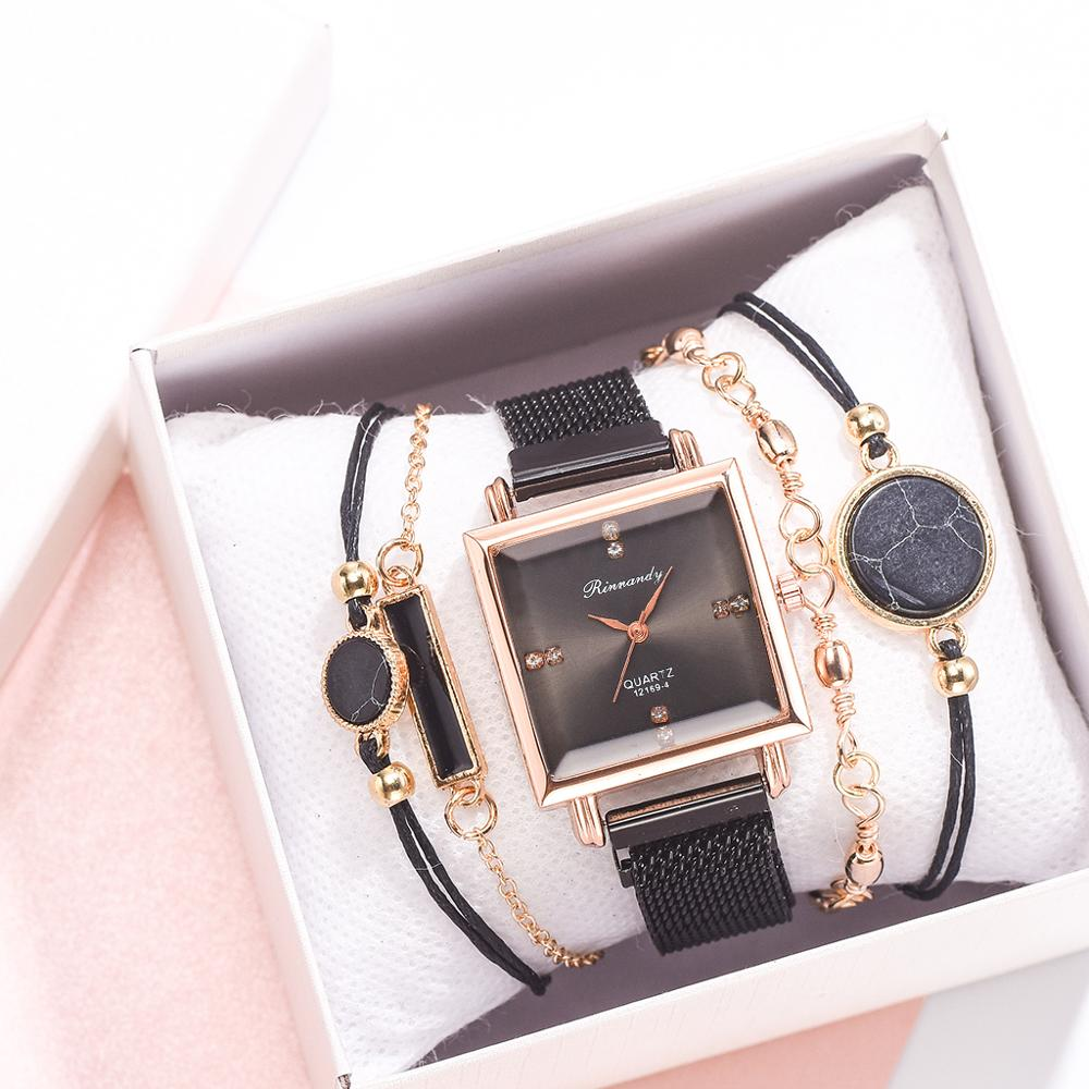 Luxury 5pcs Women Watch Set Magnetic Rhinestone Square Watch Quartz Wristwatch Bracelet Fashion Ladies Female Clock Reloj Mujer
