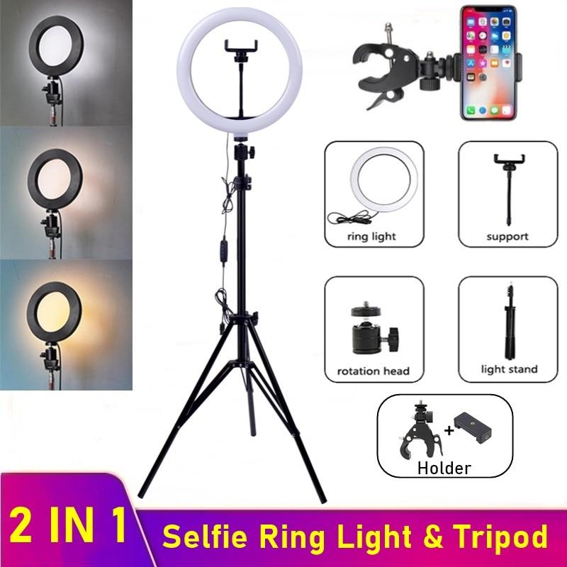 Anillo De Luz LED regulable Para selfies, lámpara De anillo Led Para cámara De teléfono con trípode Para maquillaje, Video, Aro De Luz en vivo Para Hacer Tik Tok