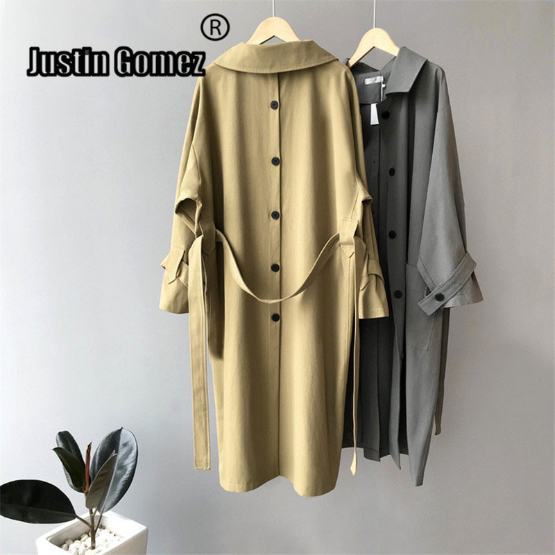 Trendy Original Design Back Signle Button Split Women's   Trench   Overcoat With Belt New High Fashion Classic Outerwear   Trench   Coat