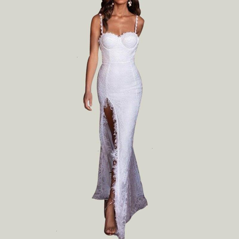 Ruches Sexy Lange Maxi Kerst Jurk Vrouwen blanc Satin dos nu moulante Kanten Jurk élégante robe de soirée fendue 2019