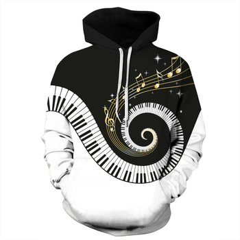 Unisex Men's 3d Printing Piano Keyboard Sheet Music Hoodie Creative Round Neck Hooded Casual Long Sleeve Mens Hoodies   pullover 1