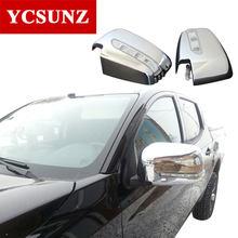 2006-2014 Chrome Spiegel Abdeckung Für Mitsubishi L200 Triton anzeige lichter Spiegel Abdeckung Für Mitsubishi l200 Zubehör Ycsunz