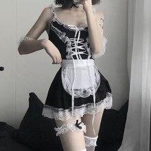 Costume de demoiselle d'honneur, tablier français, Lingerie Sexy de serveuse de Cosplay Lolita, robe de poupée, uniforme, jeu de rôle érotique, spectacle en direct mignon