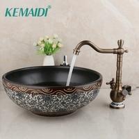 KEMAIDI Round Bowl Sinks Vessel Basin Bathroom Washbasin Ceramic Basin Sink Bathroom Antique Brass Basin Mixer Faucet