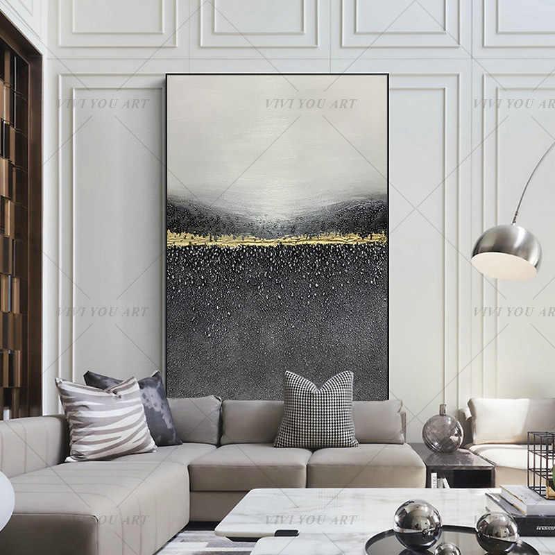 peinture a l huile abstraite faite a la main 100 noir gris blanc or pour salon peinture moderne decor mural image cadeau d art
