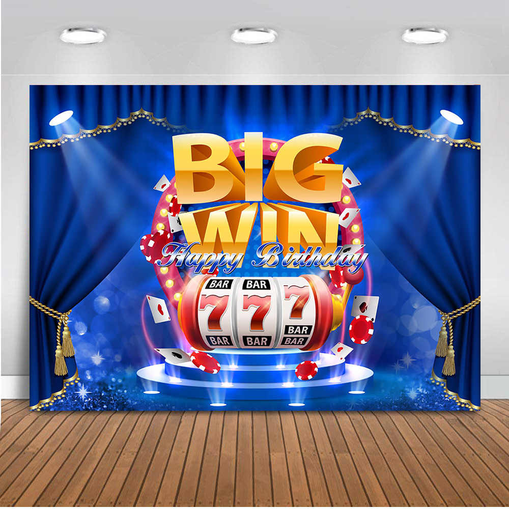 Big Win Bar kasyno temat urodziny fotografia tło karta niebieska kurtyna sceniczna tło człowiek zwycięzca siedem kasyno Photocall
