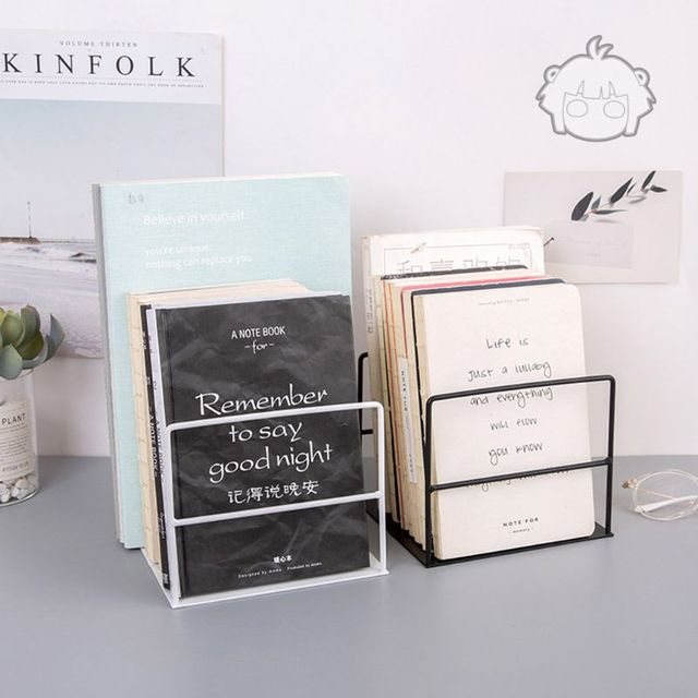 1 Pair Wrought Iron Bookends Book Support Simple Desktop Office Magazine Organizer Stand Shelf Holder