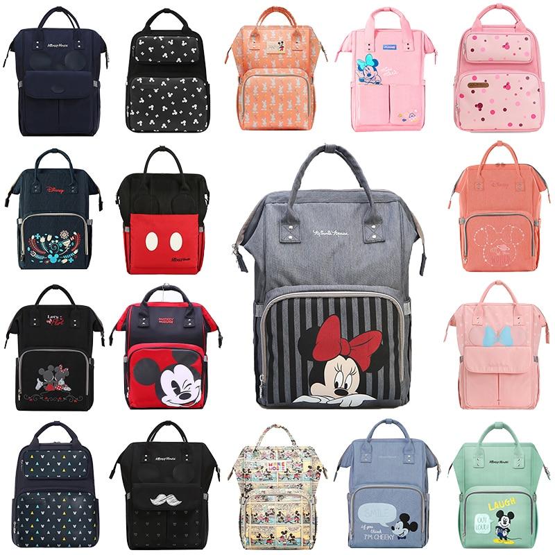 Disney Diaper Bag Backpack USB Bottle Insulation Bags Minnie Mickey Big Capacity Travel Oxford Feeding Baby Mummy Handbag