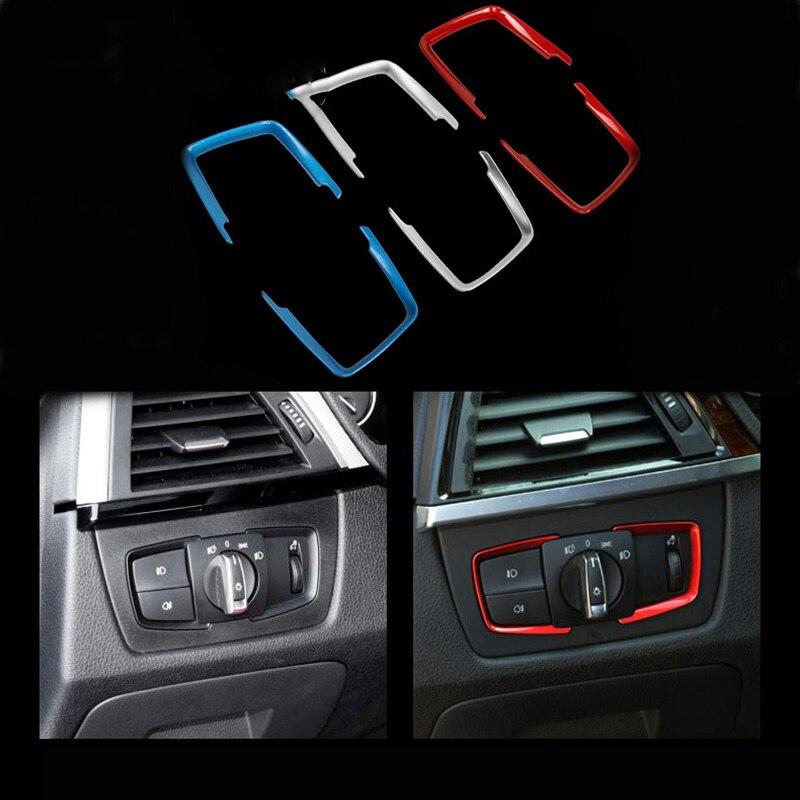 1PCS Paillette Cover Headlight Switch Frame Trim Car Sticker For Bmw M Sticker E46 E90 F20 E39 X1 X3 X4 X5 X6 X7 Car Accessories