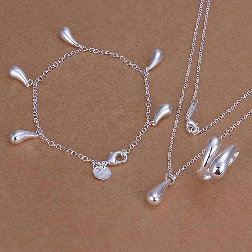 Da sposa 925 gioielli In argento di alta qualità per le donne della signora del pendente di goccia collane bracciali anelli dei monili di modo Set S305