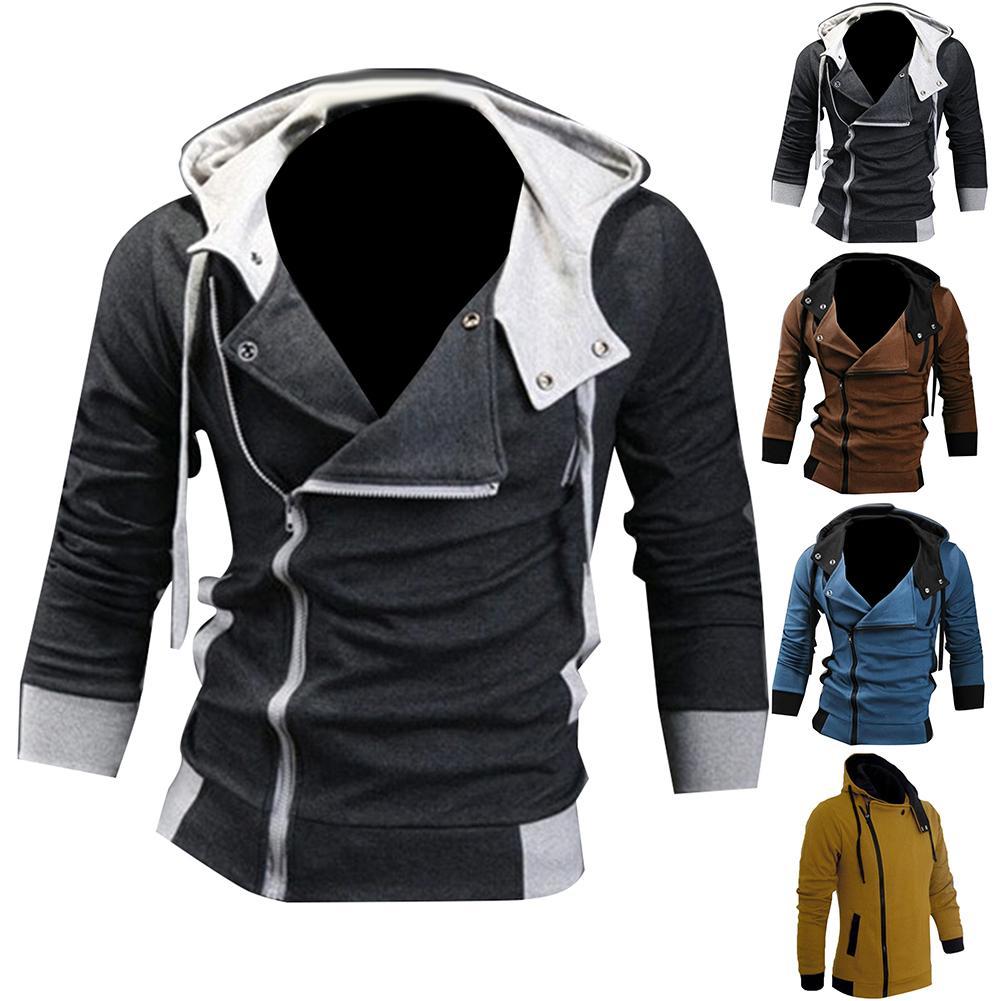 Men Side Zipper  Drawstring Long Sleeve Sweatshirt Hooded Jacket Coat