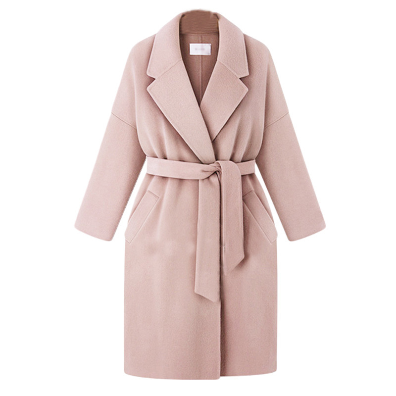 Women's Winter Coat Elegant Sashes Fold-down Collar Solid Large Size Overcoat Loose-Fit Casual Warm Classic Outwear