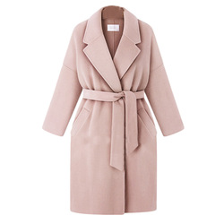 Womens Winter Coat Elegant Sashes Fold-down Collar Solid Large Size Overcoat Loose-Fit Casual Warm Classic Outwear