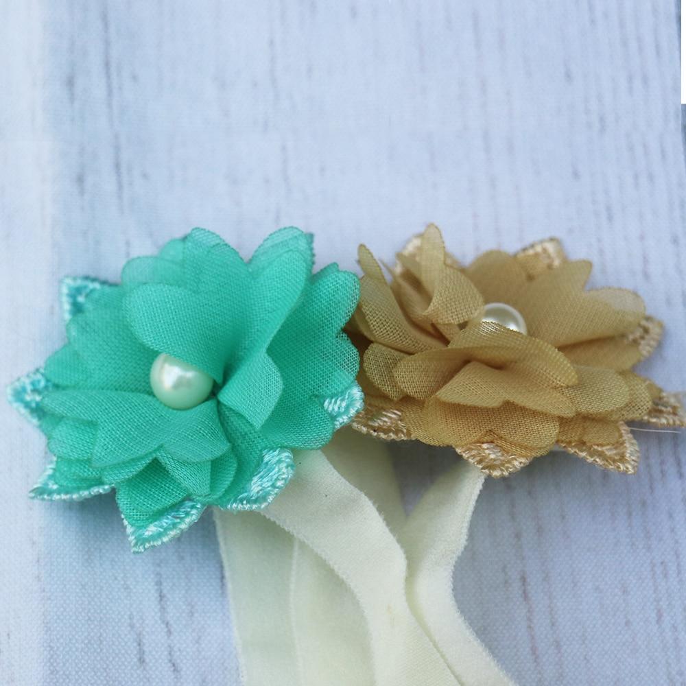 Clearance!Baby Pearl Flower Hairwear Chiffon Headband For Girls Headwear Ribbon Elasticity Newborn Photography Props Accessories