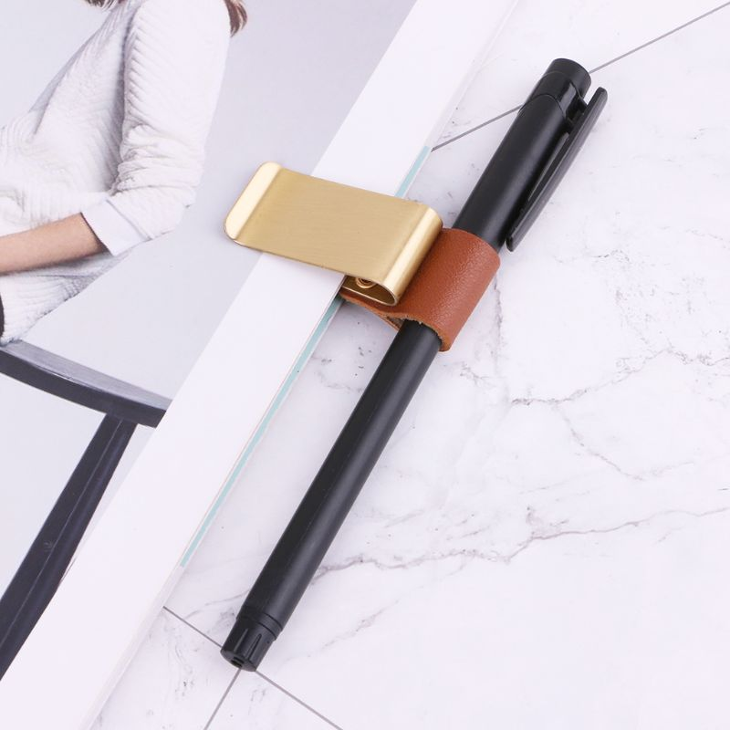 Handmade Leather Stainless Steel Pen Holder Clip Journal Notebook Paper Folder Dropship