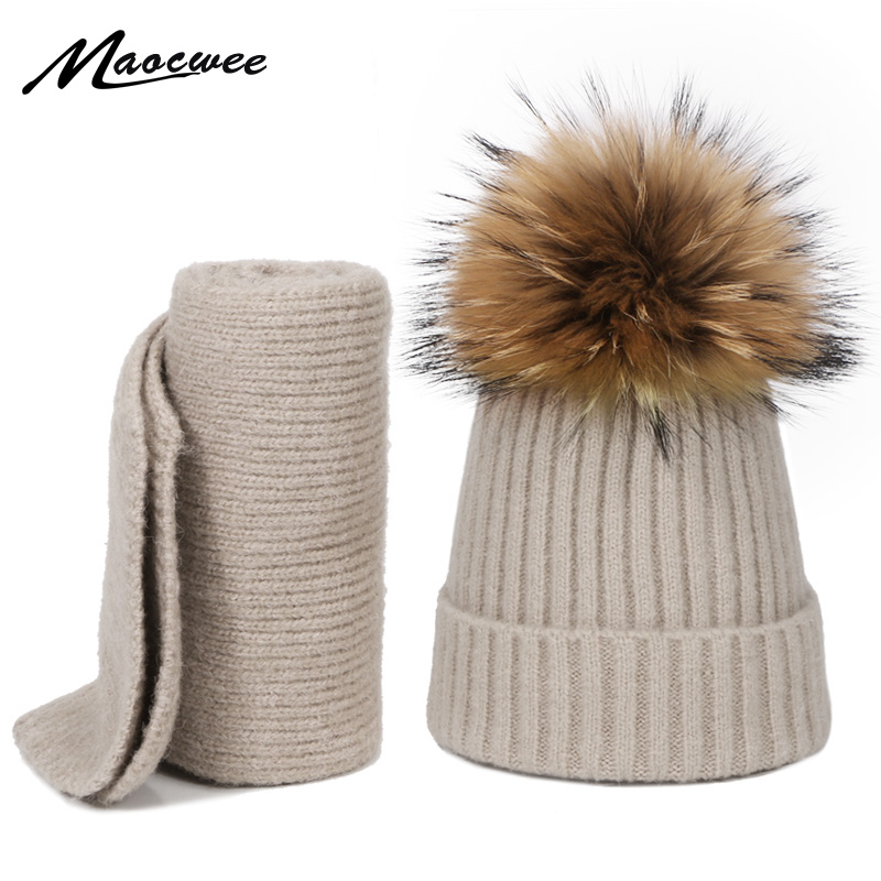 New 2 Pieces Hat Scarf Set Children Raccoon Fur Pom Poms Knit Beanie Winter Cotton Warm Boy Girl Ski Baby Kids Thicken Bonet Hat