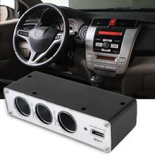 цена на Portable Car 3 Way Car Lighter Splitter Charger Power Adapter DC+USB 3 Port Plug 12V-24V splitter lighter cigarettee lighter