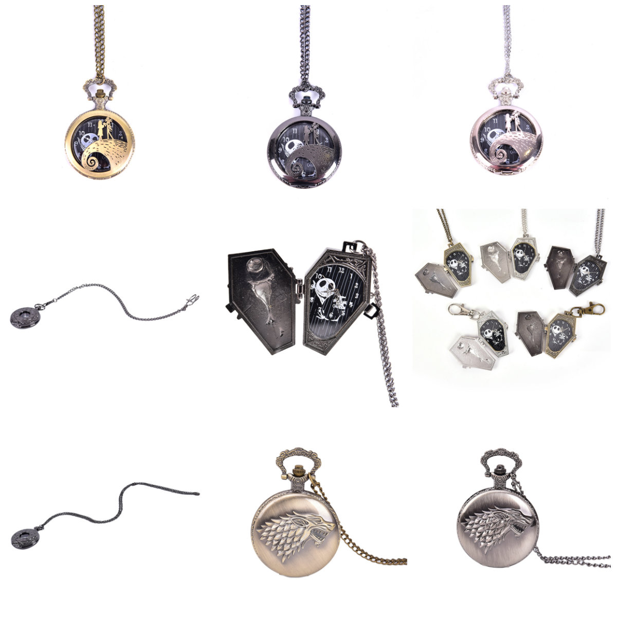 Antique Nightmare Before Christmas Quartz Pocket Watch Pendant Retro Bronze Jewelry Fob Necklace Watches