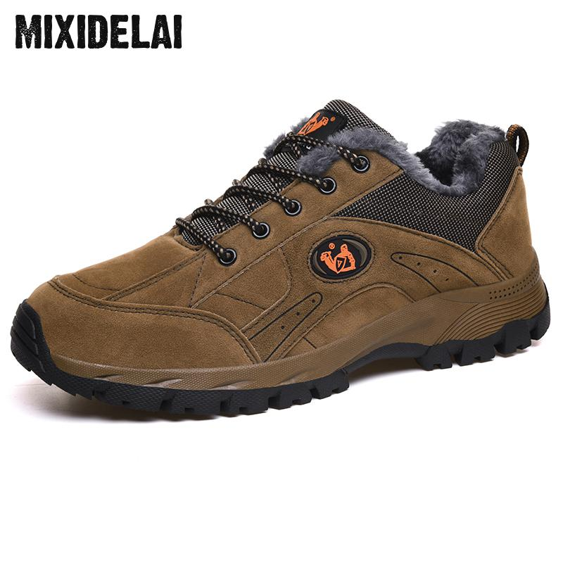 MIXIDELAI Brand Winter Shoes Men Big Size 38-48 Super Warm Men's Boots Sneakers Ankle Warm Plush Snow Boots For Man Footwear
