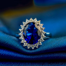 Luxury Female Natural Blue Sapphire Stone Ring Real Solid 925 Sterling Silver Open Rings For Women Big Oval Engagement Ring(China)
